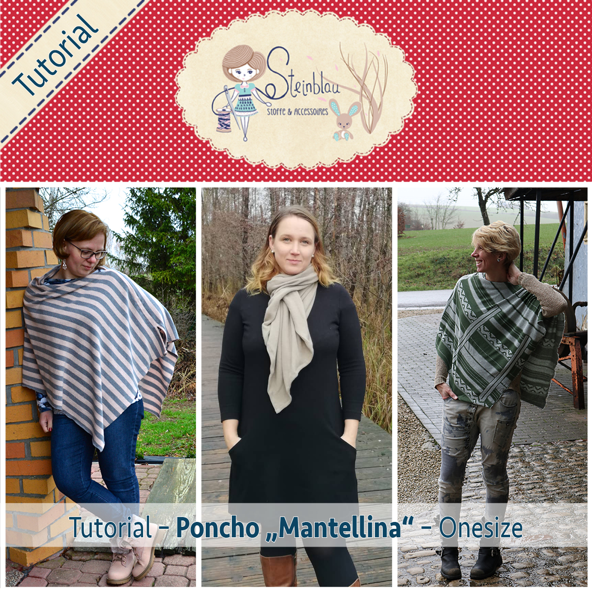 "a3ff5eaabaa906 Tutorial Poncho ""Mantellina"" – Steinblau Stoffe & Accessoires"